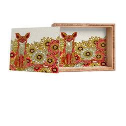 DENY Designs - Sharon Turner Garden Fox Storage Box - Love yourself a knickknack or two (or three)? Well, then this is the box for you! The Amber Bamboo wooden Storage Box is available in two sizes with a printed exterior lid and interior bottom. So, you can still be a collector of sorts, but now you've got an organized home for it all. 100% sustainable, eco-friendly flat grain amber bamboo wood box with printed glossy exterior lid and interior bottom. Custom made in the USA for every order.