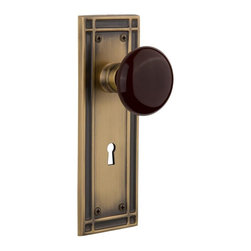 Nostalgic Warehouse - Nostalgic Mission Plate with Brown Porcelain Knob and Keyhole in Antique Brass - The Mission plate in antique brass harkens to the Spanish Colonial period of the Western frontier, with an instantly recognizable square corner. Adding our rich, Brown Porcelain knob only serves to compliment the warm, earthen hues in your home. All Nostalgic Warehouse knobs are mounted on a solid (not plated) forged brass base for durability and beauty.