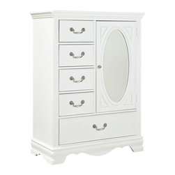 Standard Furniture - Standard Furniture Jessica 5-Drawer Kids' Wardrobe in White - Charming and inviting, Jessica's delightful details will lend a lovely Victorian cottage ambiance to every young ladies bedroom space.