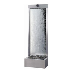 BluWorld of Water - Brushed Stainless Steel Garden Floor Fountain - Stunning accents are born from simple design and this spectacular Garden fall floor fountain is one such. Not only does its smooth, sparkling brushed stainless steel frame draw focus to itself but its beautiful, silver mirror backed tempered glass core keeps it there. Dim accent lighting, the trickle of water and polished river rocks combine resulting in a dramatic focal point. Tempered glass panel. Polished river rocks. Quiet submersible pump. Low voltage accent light. Mirrored and designed to be placed against a wall, to be viewed from 1 side. Can be placed in the center of a room or a garden. Suitable for indoor and outdoor use. Made of Stainless Steel. Minimal assembly required. 24 in. W x 13 in. D x 72 in. H. Instruction Manual & Warranty
