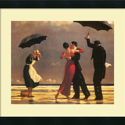 Amanti Art - The Singing Butler Framed Print by Jack Vettriano - Sweetly nostalgic, this gallery quality print by Jack Vettriano lends such charm to your decor. Beautifully set off by a cream-linen mat and black-satin wood frame, it brings a whimsical sense of romance to your favorite setting.