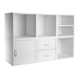 Foremost - 5-IN-1 Modular Storage System White - Customize the storage area in any room with this five-in-one modular storage system. With open storage, drawers and a cabinet, this piece offers a place for all of your items. The white color fits easily in most rooms. Unlimited combination options so you can create exactly the system you need.