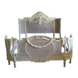 """Lannky Studio - French Louis XV Cane Bed in White Chic, King - Add some french Louis XV style to your home with this luxury Ruby French cane bed. Gorgeous hand carvings hand made from solid mahogany wood with beautiful details on the cane. Hand finished in a shabby chic white finish with appliques that add so much french chic. Bed frame includes: Headboard, Foot board, rails and slats. Available in King Size. DIMENSION: King:     88""""L x 86""""W x 65""""H"""