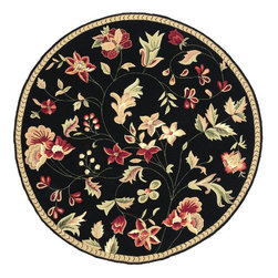 Surya - Hand Hooked Flor Wool Rug FLO-8907 - 3' Round - Great floral designs in warm colors make Flor a collection for people who like to add some casual flair to their decor. Hand hooked in China from 1% wool, this collection is a beautiful addition to any home decor.