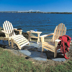 "Rustic Cedar - 4 Pc Adirondack Light Cedar Set - Outdoor/Indoor - Our Four Piece Adirondack Light Cedar Set is what summer days were made for - or vice versa!  Either way, this matched set of classic Adirondack outdoor furniture makes an ideal setting for those who appreciate good times with good friends in the great outdoors! * Chair Folds for Storage. Blanket Not Included. Chair: 28.5"" wide x 36"" high, Weight: 25lbs.. Ottoman: 22"" x 19"" x 14.5"", Weight: 1510lbs.. Table: 24"" wide x 16"" x 18"" high, Weight: 7lbs."