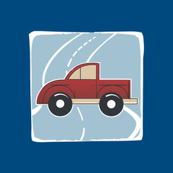Homeworks Etc - Homeworks Etc Red Truck Blue Road Navy Border Canvas Wall Art - Vroom, vroom!  Enjoy this fun canvas wall art depicting a red truck with a light blue road winding behind it.  Makes a great baby shower or birthday gift! It's lightweight design is easy to hang.  Finished blue edge with no framing required.  Canvas stretched over a wooden frame.  Measures 10 x 10 x 1.5-inches. Perfect for use in  a children's bedroom.