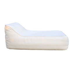 Used Restoration Hardware Ibiza White Chaise - RH has reinterpreted the iconic bean bag chair in an ultra-relaxed silhouette perfect for patio or poolside and tailored it with premium, weather-hardy fabric. It is designed with all-weather upholstery and enduring style.     The chaise features a water-resistant shell filled with foam and beads for ultimate comfort and flexible support. The shell has a mesh bottom for drainage. It has only been taken out of the box once. The chaise turned out to be to large for the seller's space.