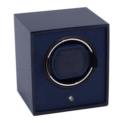 WOLF - Lacquer Cub Winder, Navy Blue - The Cub Winders are a user-friendly, travel-ready winder. The Lacquered Cub is pre-programmed at 900 turns per day rotating bi-directionally.