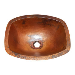 "Artesano Copper Sinks - Rectangularl Bathroom Copper Sink  with Flat Sides and Flat Rim - Rectangularl Bathroom Sink with Flat Sides and Flat Rim 17 x 14 x 6  for Undermount installation, 1"" rim, all hand made, all copper, all hammered"