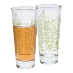Quench Glassware - Njoy: Circuit Glasses (2 pack) - Geek chic? Believe it!  The glass shape features a sturdy base and clean, slanting lines.  Our Circuit design, part of the NJoy collection, is as elegant as jewelry and executed in a wonderful green color (looks great with white wine inside).