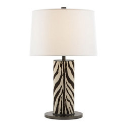 Round Leather Wrapped Table Lamp in Faux Zebra and Bronze - I love a good animal print, especially in small doses. This zebra lamp is elegant yet has a wild side.