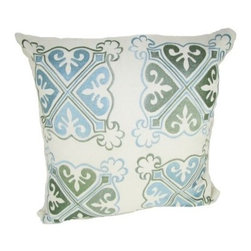 Design Accents Arabic Medallion Pillow - Blue - Handmade quality and a soothing color palette make the Design Accents Arabic Medallion Pillow - Blue a perfect choice for your modern aesthetic. Made of quality cotton for durable beauty. The hand-embroidered design features a gorgeous medallion pattern in striking shades of blue. The perfect accent for your sofa, chair, or bed.