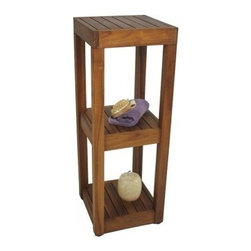 Aqua Teak Square 3 Tier Tower Stand - The Aqua Teak Square 3 Tier Tower Stand makes an elegant accent shelf for any room and is water-resistant so could even use it outside the home! This all-natural teak storage tower features 3 convenient shelves great for storage and display. Its wooden construction was harvested without any deforestation for zero environmental impact.About Aqua TeakAqua Teak was founded over two decades ago as a small family business in Melbourne, Florida. Every piece in their wide array of handmade furniture is designed by the owner and then produced by professional artisans from Java, Indonesia, who have been working with teak wood for generations. Why teak? The plantation-grown material is an environmentally friendly option that's one of the most sought-after woods in the world because of its natural weather-resistance. Its resilience is an absolute must for Aqua Teak's innovative line of shower benches and other handmade furniture for the spa, hotel, and outdoor setting where water is prevalent. Aqua Teak's goal is 100% customer satisfaction and they stand proudly by their 5-year warranty of durable quality and lasting, unique designs sure to look fabulous in your home.