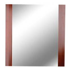 Renovators Supply - Glass Sinks Cherry Oak Barcelona Sink Mirror - Barcelona Mirror with Red Oak frame and elegant mirror. Matches Barcelona sink #10886.