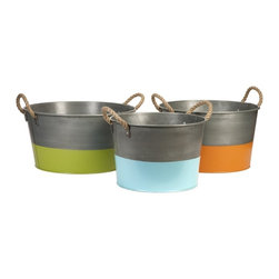 iMax - Chelsey Round Tubs, Set of 3 - The Chelsey tubs are constructed of iron sheet metal, with rope handles and brightly painted bases, perfect for entertaining!