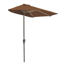 "Blue Star Group - OFF-THE-WALL BRELLA 7.5 Ft. Half Umbrella - Teak - Sunbrella Fabric - What a great new idea!  OFF-THE-WALL BRELLA is a half-canopy patio umbrella that stands, without attachment, flush against a wall, window, sliding glass door or any vertical surface.  This decorative and portable faux-awning provides cooling shade and welcomed protection from the elements.  Now, homeowner's and condominium dwellers alike can open their drapes to enjoy the view and be sheltered from the hot sun or rain.  The Teak color canopy is made of Sunbrella Fabric fabric for long lasting durability and color.  The sturdy frame has a tough, powder coat, Champagne color finish and a hand crank for easy raising and lowering of the canopy.  Fully opened, the umbrella stands 94"" H x 88"" W x 45"" D.  When closed, the upper pole and canopy can be separated from the lower pole for compact storage."