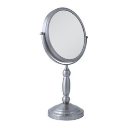 Zadro Products - Zadro 10X/1X Swivel Satin Nickel Vanity Mirror Multicolor - VAN410 - Shop for Bathroom Mirrors from Hayneedle.com! Everything you see will look better when you look in the Zadro 10X/1X Swivel Satin Nickel Vanity Mirror. This 2-sided mirror swivels on a base that's designed with traditional style and finished in an elegant satin nickel. One side of the 9.5-inch mirror offers simple 1X magnification while the reverse gives you a bold magnification of 10X.About Zadro ProductsZadro Products has been a leading innovator in bath accessories mirrors cosmetic accessories and health products for over 25 years. Among the company's innovations are the first fogless mirror first variable magnification mirror first surround light mirror and more. Not a company to rest on its laurels Zadro continues to adapt to the ever-changing needs of modern life.
