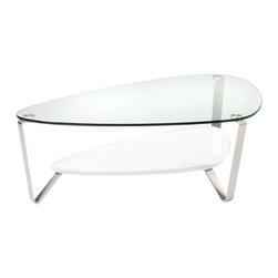 BDI - Large Dino Coffee Table, Gloss White - The Large Dino Coffee Table from BDI has a sleek and elegant design. The table has an organic and asymmetrical shape. The legs are made of steel and the table top is glass. The table legs converge to prop up a middle shelf. The shelf is available in 3 color options.
