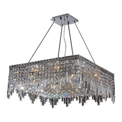 "Worldwide Lighting - Cascade 12 Light Chrome Finish and Clear Crystal 24"" Square Chandelier SALE ! - This stunning 12-light Crystal Chandelier only uses the best quality material and workmanship ensuring a beautiful heirloom quality piece. Featuring a radiant chrome finish and finely cut premium grade crystals with a lead content of 30%, this elegant chandelier will give any room sparkle and glamour. Worldwide Lighting Corporation is a premier designer manufacturer and direct importer of fine quality chandeliers, surface mounts, and sconces for your home at a reasonable price. You will find unmatched quality and artistry in every luminaire we manufacture."