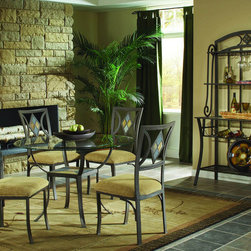 "Bernards - Diamond Tile Dinette Table - Metal Table with Tile Design in the Base and 45"" Round Bevel Glass Top. Shown with #4625 Chair and #6624 Bakers Rack. Manufacturer: Bernards. Brand: Bernards. Part Number: 4624. UPC: 708939462417"