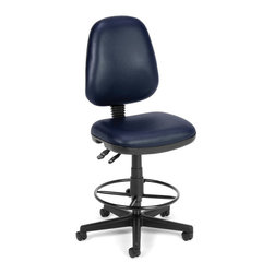 "OFM - OFM Straton Series Computer Task Chair with Drafting Kit in Navy Vinyl - OFM - Office Chairs - 119VAMDK605 - OFM's vinyl Straton Series Task Chair with Arms 119-VAM-DK offers a perfect balance of support and function. This task chair features a choice of stylish colors anti-microbial/anti-bacterial vinyl upholstery for consistent cleanliness in public and health care environments. Users will easily find their perfect position with the back height and pitch adjustment gas lift seat height adjustment and the adjustable back support tilt. Also includes built-in lumbar support and 7-position adjustable arms. The molded poly back shell and 3"" thick vinyl padded seat ensure all-day comfort. The 25"" 5-star wheeled base adds stable mobility and the adjustable foot ring gives additional support. Weight capacity up to 250 lbs."