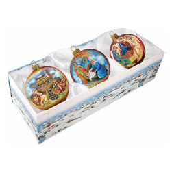 "Set of Three Nativity Holy Family Christmas Ornaments w/ Gift Box - Measures 4""H x 13.5""L x 5""W and weighs 1.5 lbs. Invite the beauty of the season into your home with the G. DeBrekht collection of hand painted glass Christmas ornaments, inspired by an old Russian Fedoskino and Palekh Artistic technique. Decorating your Christmas tree is a special time for families, with G. DeBrekht ornaments you can choose your style and create a true gallery of art for your family to enjoy. G. DeBrekht fine art traditional, vintage style glass holiday ornaments are artistically hand painted with a combination of transparent and opaque paint for a realistic, deep iridescent lighting effect on each G. DeBrekht ornament. Each ornament is adorned with a miniature detailed Christmas scene, accented with touches of gold or silver, finished with a lovely satin ribbon and then placed in a luxurious satin lined box. In the spirit of giving, G. DeBrekht ornaments and decor also make beautiful Christmas and holiday gifts to share with loved ones. Every G. DeBrekht ornament and decoration is an original work of art sure to be cherished as a family tradition for generations to come. Some ornaments may have slight variations of the decoration on the ornament due to the hand painted nature of the product."