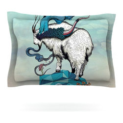 """Kess InHouse - Mat Miller """"Seeking New Heights"""" Blue Goat Pillow Sham (Woven, 40"""" x 20"""") - Pairing your already chic duvet cover with playful pillow shams is the perfect way to tie your bedroom together. There are endless possibilities to feed your artistic palette with these imaginative pillow shams. It will looks so elegant you won't want ruin the masterpiece you have created when you go to bed. Not only are these pillow shams nice to look at they are also made from a high quality cotton blend. They are so soft that they will elevate your sleep up to level that is beyond Cloud 9. We always print our goods with the highest quality printing process in order to maintain the integrity of the art that you are adeptly displaying. This means that you won't have to worry about your art fading or your sham loosing it's freshness."""