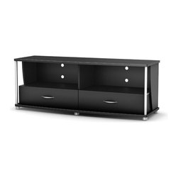 South Shore - TV Stand in Black - City Life Collection - Manufactured from eco-friendly, EPP-compliant laminated particle boardcarrying the Forest Stewardship Council (FSC) certification. TV stand accommodates flatscreen televisions up to 60 in.. Open storage spaces to accommodate entertainment items and components. TV stand features 2 practical drawers. Silver legs and dowels. Metal handles. Assembly Required. 20 in. W x 60 in. D x 22 in. H