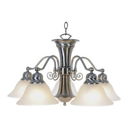 "AF Lighting - AF Lighting Wellington 24"" Brushed Nickel Flourescent 5-Light Hanging Chandelier - AF Lighting Wellington Collection Five Light Chandelier in Brushed Nickel with Frosted Glass Shades"