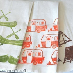 Camp Tea Towel Series Camper Canoe or Tent by Leanne Graeff - Canoe, camper and tent — towels could not be more cute. These are perfect for the outdoorsy person who wants to have that same outdoor feeling in the kitchen.