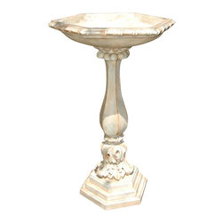 Ladybug - 2 Pc Acanthus Leaf Bird Bath in Parthenon Fin - Weather resistant finish. Floor fountain. 1-Year warranty. Made in the USA. Made of pecan shell resin. 10.50 in. D x 25.25 in. H (19 lbs.)The finishes are applied by hand, enhancing every detail, and resulting in the uniqueness of no two pieces being exactly alike. Each individually hand-crafted piece of Ladybug product is cast in a crushed marble or resin composition which has the ability to capture and reproduce the same definition and minute detail as the original. It is a substantial, non-porous material which does not absorb moisture, making it ideal for outdoor use, although it offers the strength and durability required to endure even extreme weather conditions.