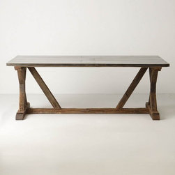 Modern Farmhouse Table - This fabulous dining table made of reclaimed wood and galvanized metal would work great in a farmhouse or a modern space. It's the kind of table is so flexible, mix it with a crystal chandelier or with a modern pendant - anything goes!