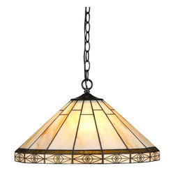 """Chloe Lighting - Belle 2 Light Ceiling Pendant - Note: Shade colors will appear darker and less vibrant when not illuminated.. The handcrafted nature of this product creates variations in color, size and design. If buying two of the same item, slight differences should be expected.. This stained glass product has been protected with mineral oil as part of the finishing process. Please use a soft dry cloth to remove any excess oil. . Due to the nature of stained-glass, colors may vary. Glass, metal & electrical components. Overall: 18.1 in. L x 18.1 in. W x 8.7 in. H (4.9 lbs.)""""BELLE"""" Tiffany-style Mission is handcrafted with pure stained glass. ���� This hanging fixture features a classic yet modern lighting concept with an unique stated design. ���� Giving a soft and warm feel to your home."""