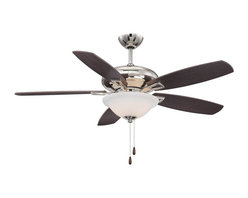 Savoy House - Savoy House Mystique Ceiling Fan in Polished Nickel - Savoy House Mystique Model SV-52-831-5RV-109 in Polished Nickel with Reversible Chestnut/Teak Finished Blades.