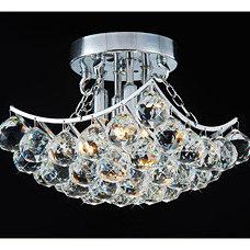 Chandeliers Indoor 4-Light Chrome And Crystal Flushmount Chandelier