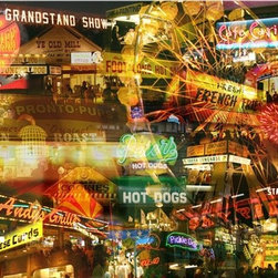 Giesla - ''Late Night Fair'' 11  x 14  Print - '' Late Night Fair (State Fair After Dark)''11 x14 Gallery  Wrapped  Canvas Giclee by Giesla