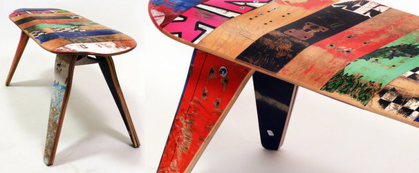 Contemporary Indoor Benches by Deckstool - Recycled Skateboard Furniture