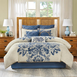 Harbor House - Harbor House St. Tropez 4 Piece Comforter Set - For a bold design the Harbor House St. Tropez Bedding Collection is the perfect addition to your room. The intricate blue pattern is printed on 100% cotton and is an elegant update to your existing d̩cor. Comforter & Sham Face: 100% cotton printed and enzyme washed Reverse: T180 100% cotton solid enzyme washed Filling: 300 gram/sqm polyester Bedskirt: T180 100% cotton solid as drop, polyester/cotton platform