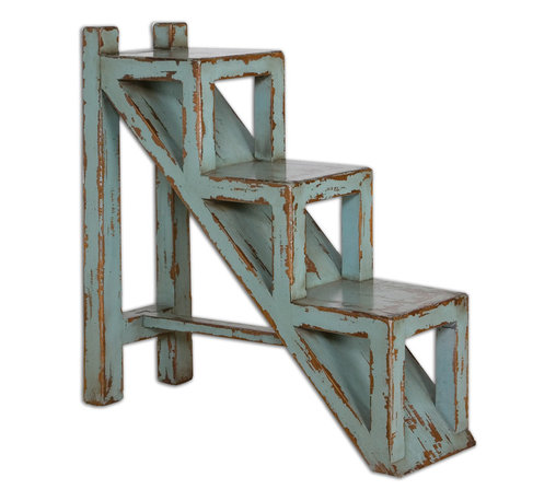 Uttermost - Asher Blue Accent Table - Solid mango wood distressed to look like its been in your grandmother's attic for ages. The one giveaway is the design — modern, sleek and hardly retro.