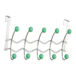None - Over-the-door 10 Sage Porcelain Ball Hooks - Finish: Chrome Over the door hooks with 10 sage porcelain balls Dimensions: 16 inches long x 5 inches wide x 8 inches high