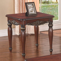 """Coaster - Dark Cherry End Table - Finished in dark cherry, this piece has elegant curves refining the traditional style. Style: Traditional; Finish/Color: Dark Cherry; Dimensions: 24.00""""L x 24.00""""W x 22.50""""H"""