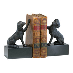 Kathy Kuo Home - Humphrey Labrador Retriever Dog Iron Marble Bookends - Sit, shake and hold the books!  This pair of cast iron and marble Labradors are a charming duo ready to keep that library in check and in great, vintage inspired style.  Rustic, industrial and traditionally inspired spaces will want to raise the woof for these two.