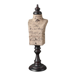 Uttermost - Jewelry Mannequin - Keep your prized possessions at the ready with this jewelry mannequin. The adorable model — wrapped in a fun script-printed burlap — includes two small drawers for extra storage. It's an artful way to display your beloved jewels.