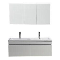 "Virtu USA - 55 Inch Modern Double Sink Bathroom Vanity - This beautiful double basin, wall-mounted vanity is the epicenter of quality and elegance. Take notice in the gorgeous modern design paired with durable materials, this vanity will look great for years to come. Featuring the perfect amount of storage with two large drawers on soft closing slides and a magnificent finish, this vanity will be sure to impress any guest. Virtu USA has taken the initiative by changing the vanity industry and adding soft closing doors and drawers to their entire product line. By doing so, it will give their customers benefits ranging from safety, health, and the vanity's reliability. Dimensions: 54.7""W X 19.9""D X 21.9""H (Tolerance: +/- 1/4""); Counter Top: White Polymarble with Integrated Sink; Finish: Gloss White; Features: 2 Drawers; Soft Close Guides; Hardware: N/A; Sink(s): 55.1"" X 20.1"" X 6.7"" White Polymarble Integrated Sink; Faucet: Pre-Drilled for Single Hole Faucet (Included); Assembly: Light Assembly Required; Large Cut Out in Back for Plumbing; Included: Cabinet, Sink, Faucet (7"" Chrome Faucet PS-103); Not Included: Backsplash"