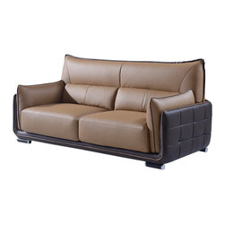 Global Furniture - Global UFY220-RV-S Sofa in Light Brown and Dark Brown Leather - Upholstered in a soft bonded leather and designed with plenty of style, this contemporary sofa features unique double cushion arms with tufted details on the exterior, extra high back, plush box seat cushions and contrast welt detailing. Black and chrome colored legs complete this look.