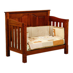 Chelsea Home Furniture - Chelsea Home Stratford Crib with Toddler Rail in Michaels Cherry Stain - As children go through stages as they grow, so should their furniture. The Stratford Convertible Crib Set, shown with White Quarter Sawn Oak and Michaels Cherry Stain, is a solid wood 3-stage bed system that is constructed with quality and durability to transition any newborn into adulthood with an ornate minimalism. The sturdy slats and arched back panels add to the decorative embellishment along the top edges of the crib, giving just the right amount of detail. This CPSC 16 CFR 1219 and 1220 compliant convertible piece is complete with guard rail and 3-level mattress support, and simple transition instructions to keep your child resting easy and comfortable. Chelsea Home Furniture proudly offers handcrafted American made heirloom quality furniture, custom made for you. What makes heirloom quality furniture? It�s knowing how to turn a house into a home. It�s clean lines, ingenuity and impeccable construction derived from solid woods, not veneers or printed finishes over composites or wood products _ the best nature has to offer. It�s creating memories. It�s ensuring the furniture you buy today will still be the same 100 years from now! Every piece of furniture in our collection is built by expert furniture artisans with a standard of superiority that is unmatched by mass-produced composite materials imported from Asia or produced domestically. This rare standard is evident through our use of the finest materials available, such as locally grown hardwoods of many varieties, and pine, which make our products durable and long lasting. Many pieces are signed by the craftsman that produces them, as these artisans are proud of the work they do! These American made pieces are built with mastery, using mortise-and-tenon joints that have been used by woodworkers for thousands of years. In addition, our craftsmen use tongue-in-groove construction, and screws instead of nails dur