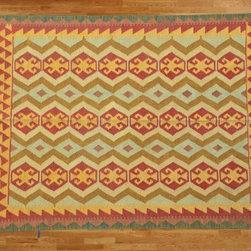 Kilim Qasqagi - Vegetable Dye 4'11'' X 6'7'' 100% Wool Fabulous Flat Weave Kilim Oriental Area Rug.