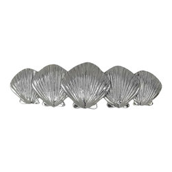 Scallop Shell Cabinet and Drawer Knobs - Scallop Shell cabinet Pulls. Cast in Pewter. Designed and Sculpted by Peter Costello. Finished in Brushed Nickel, Chrome or Custom Powder Coat colors. Sold exclusively from Peter's website. Free shipping.