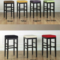 None - Sonata Square Bar Stool - Accentuate your bar or counter with the Sonata square bar stool Backless stool features rich microfiber upholstery and wood frame construction Dining furniture is great for the kitchen, dinette, bar, garage, hobby room or patio