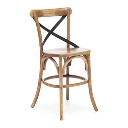 Wood and Metal X-Back Chair - X marks the spot, so go ahead and pull up a chair. Modeled after European caf̩ chairs, this counter chair has a durable solid wood frame with antiqued metal accents.